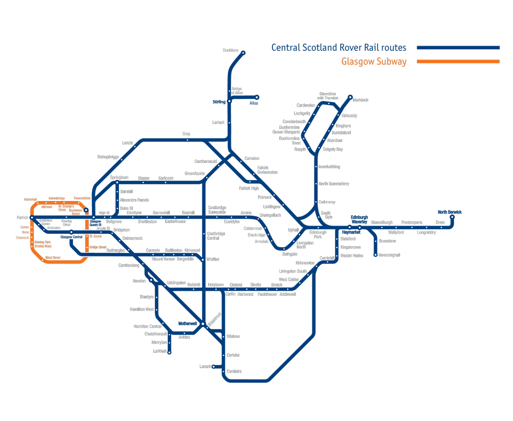 Map of rail routes covered by the Central Scotland Rover rail pass