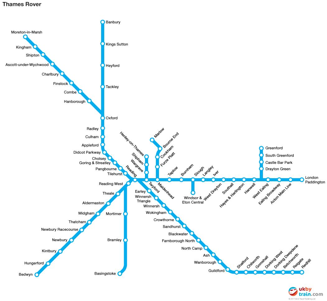 Thames Rover rail pass map
