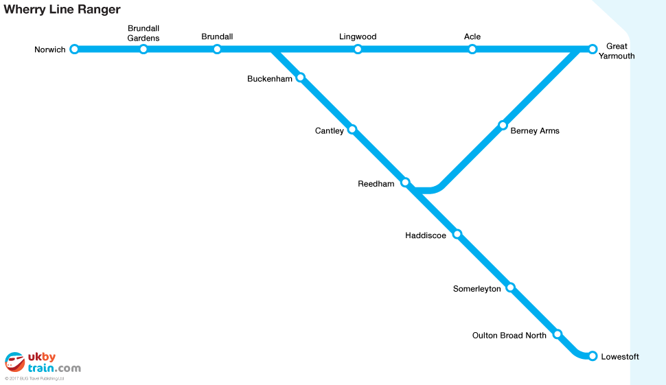 Wherry Line Ranger rail pass map