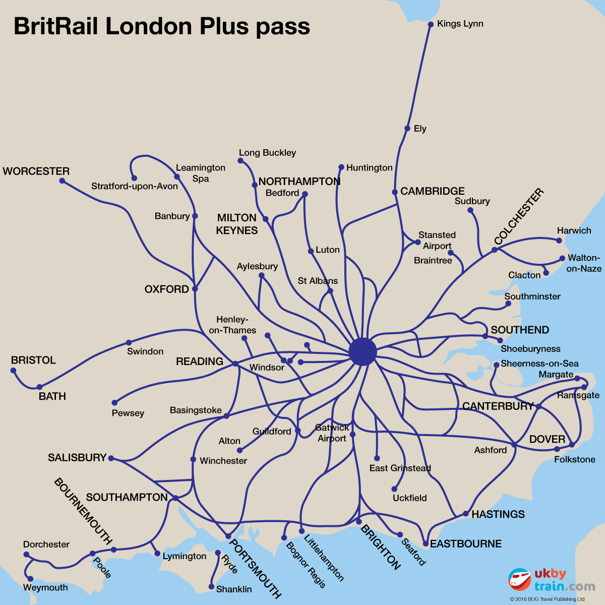 Map showing where you can travel using the BritRail London Plus rail pass