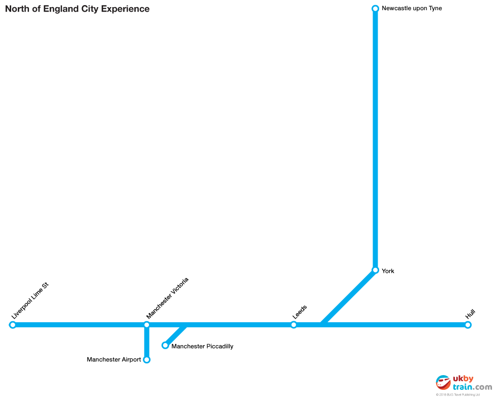 North of England City Experience rail pass route map